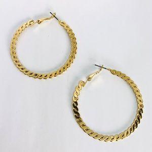 New! Gold Twisted Hoop Earrings